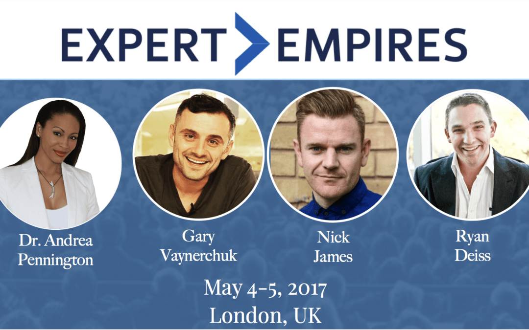 Andrea Pennington Presenting with Gary V, Ryan Deiss & Nick James at Expert Empires Event in London – May 2017